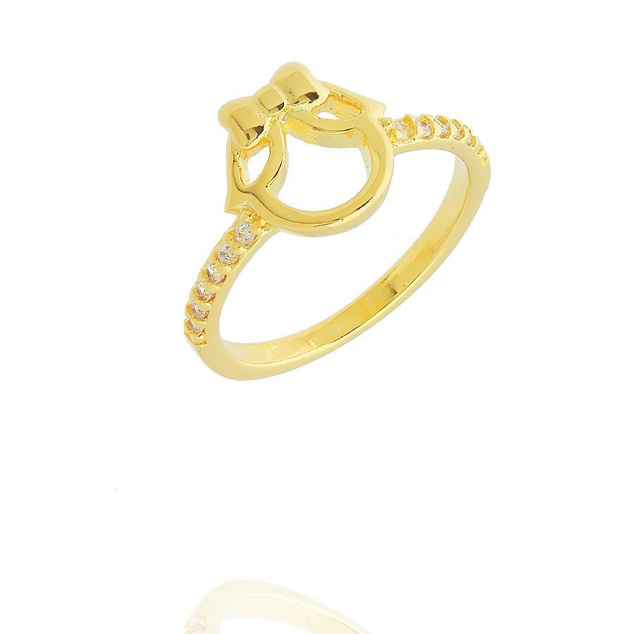 anel de menina zircônias dourado