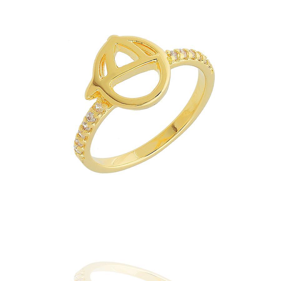 anel de menino zircônias dourado