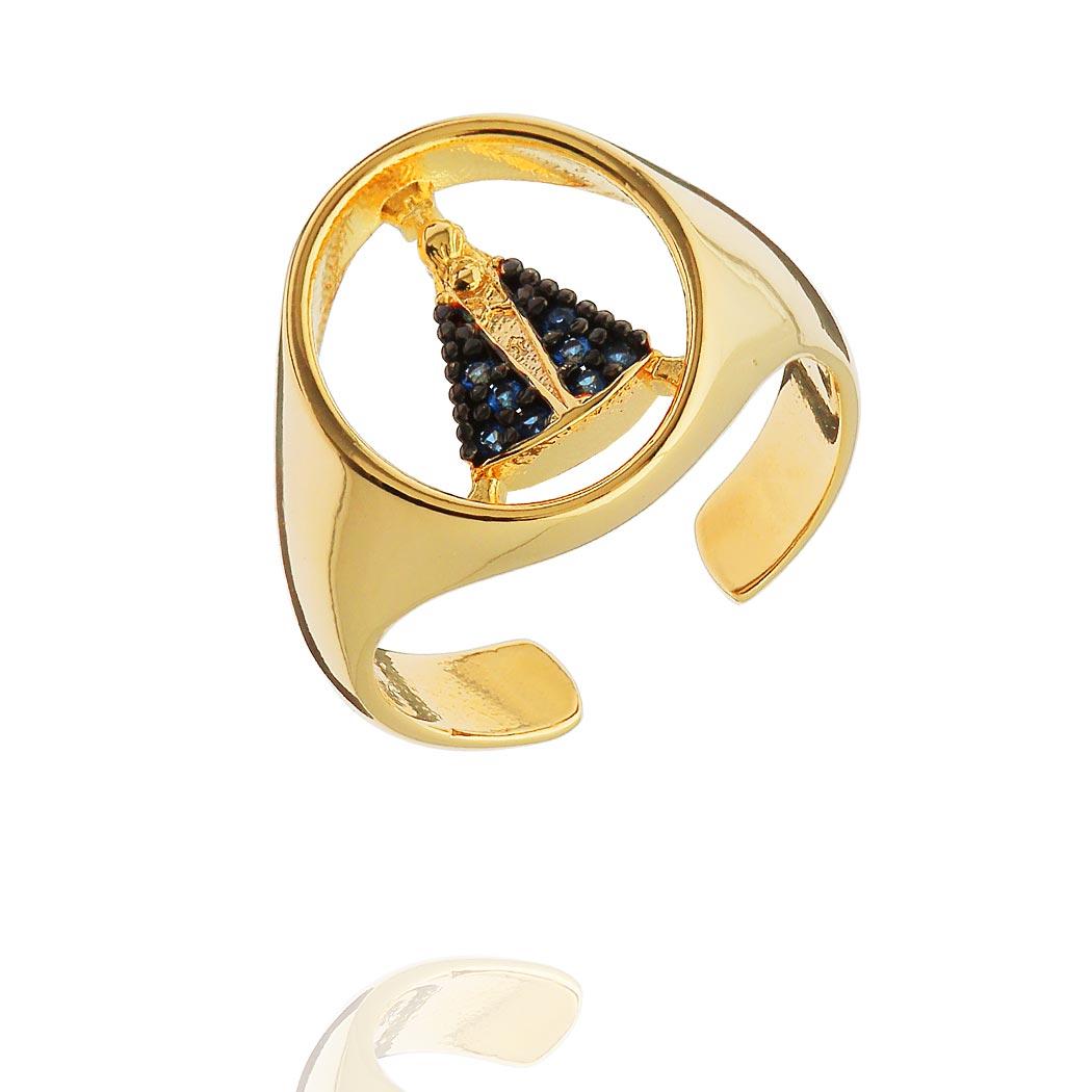 anel dedinho nossa senhora regulável dourado