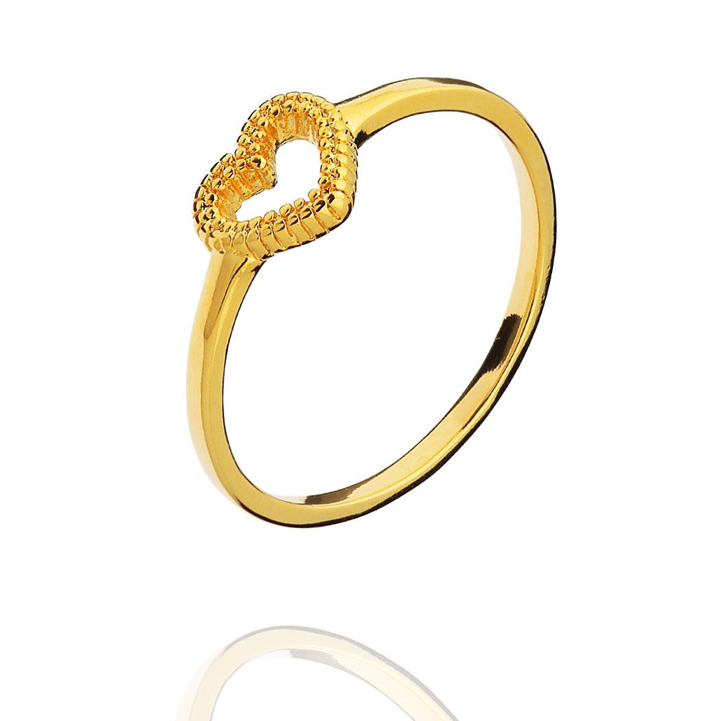anel delicado coração Daiany Hank dourado