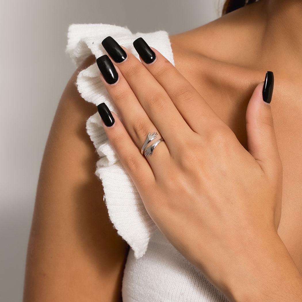 anel do abraço hug mão regulável ródio claro
