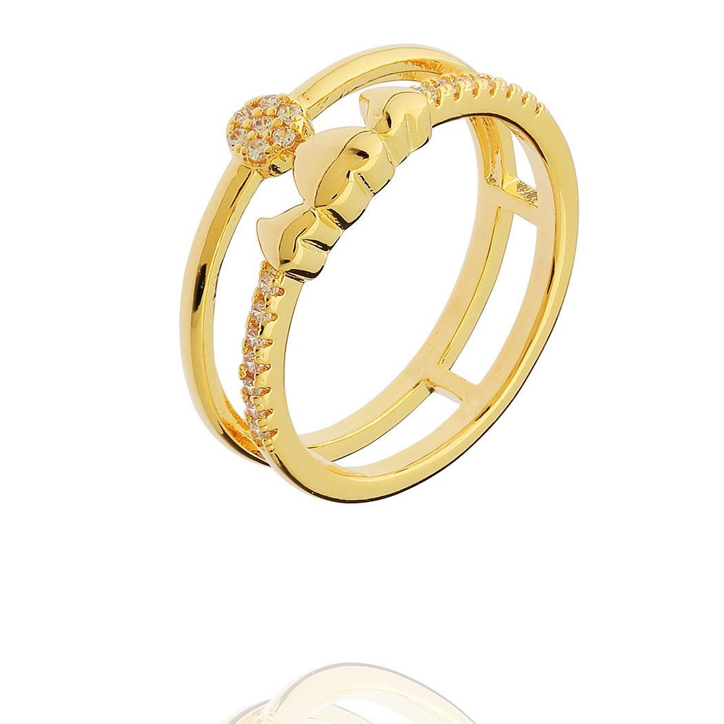 anel dois aros coração zircônias dourado