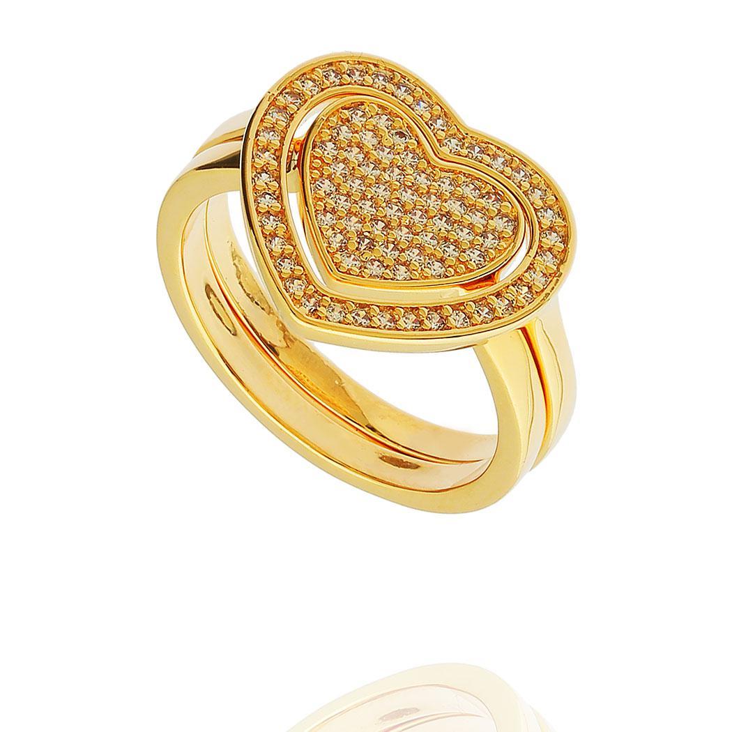 anel duplo coração zircônia dourado