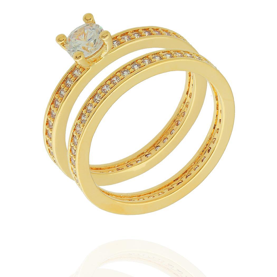 anel duplo solitário aparador dourado