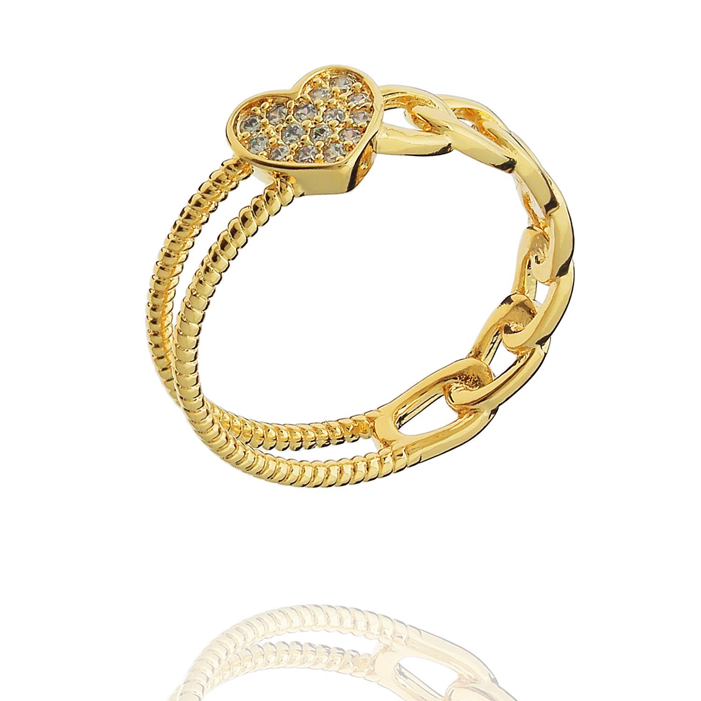 anel elos coração zircônias dourado