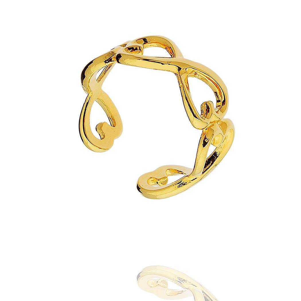 anel elos corações regulável dourado