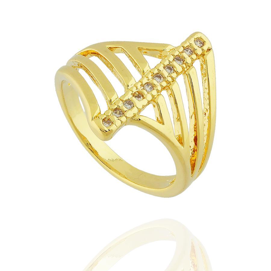 anel faixa zircônias dourado