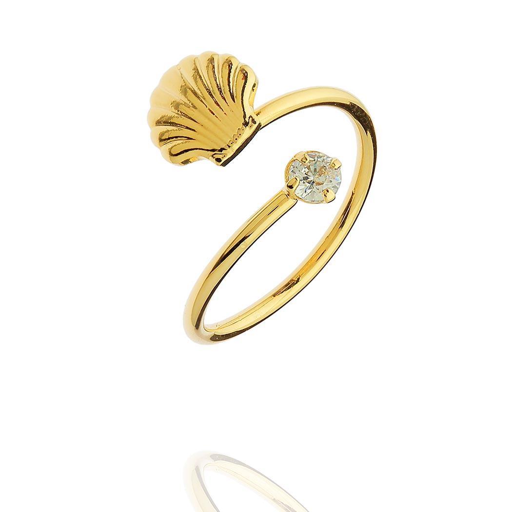 anel falange concha zircônia regulável dourado
