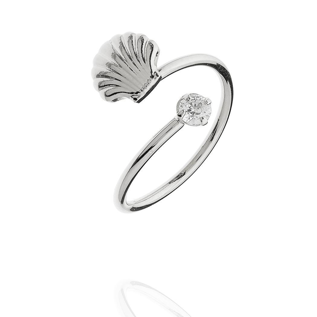 anel falange concha zircônia regulável ródio claro