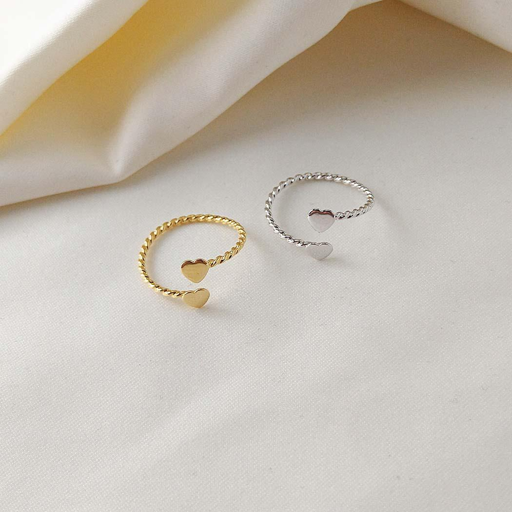 anel falange corações regulável dourado