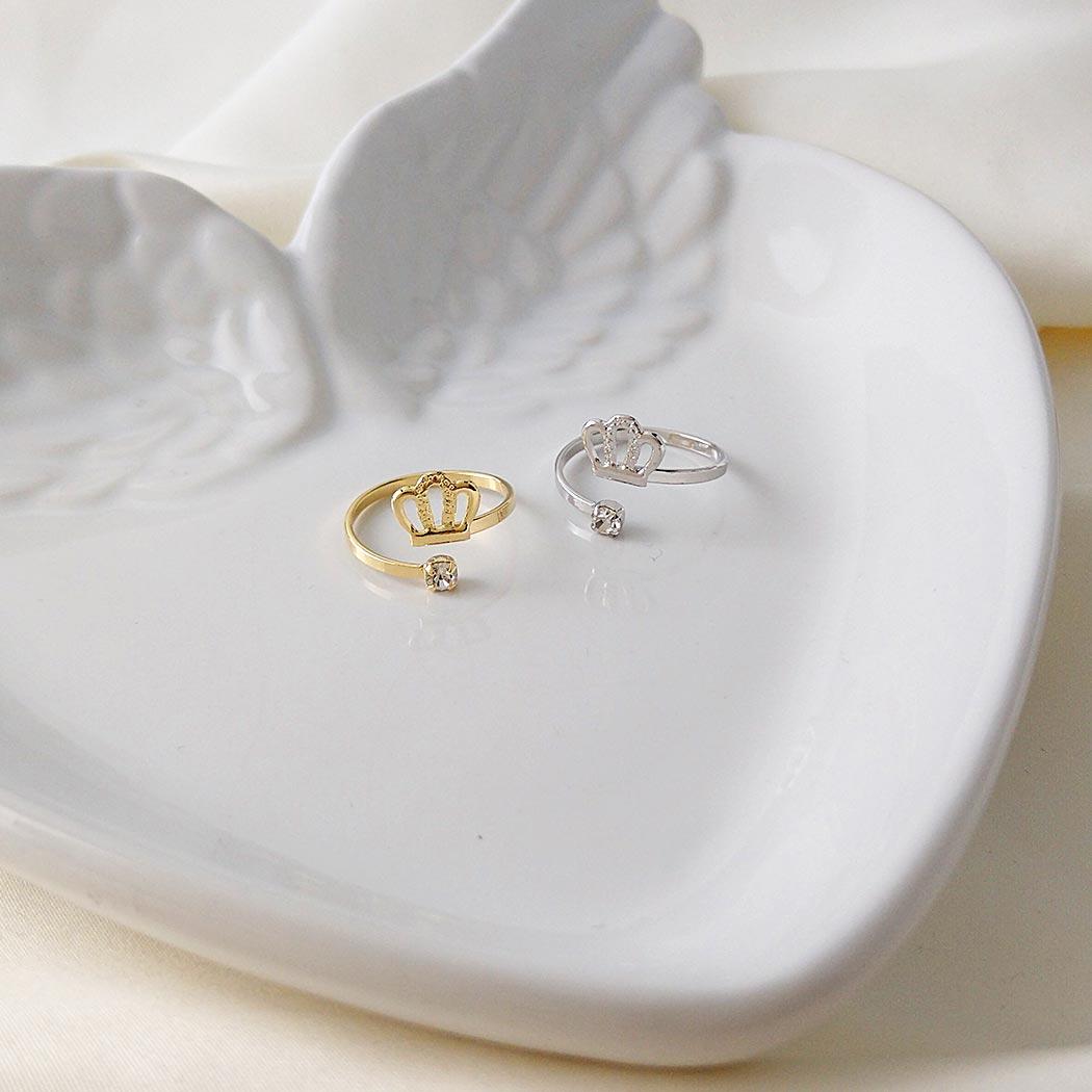 anel falange coroa regulável dourado