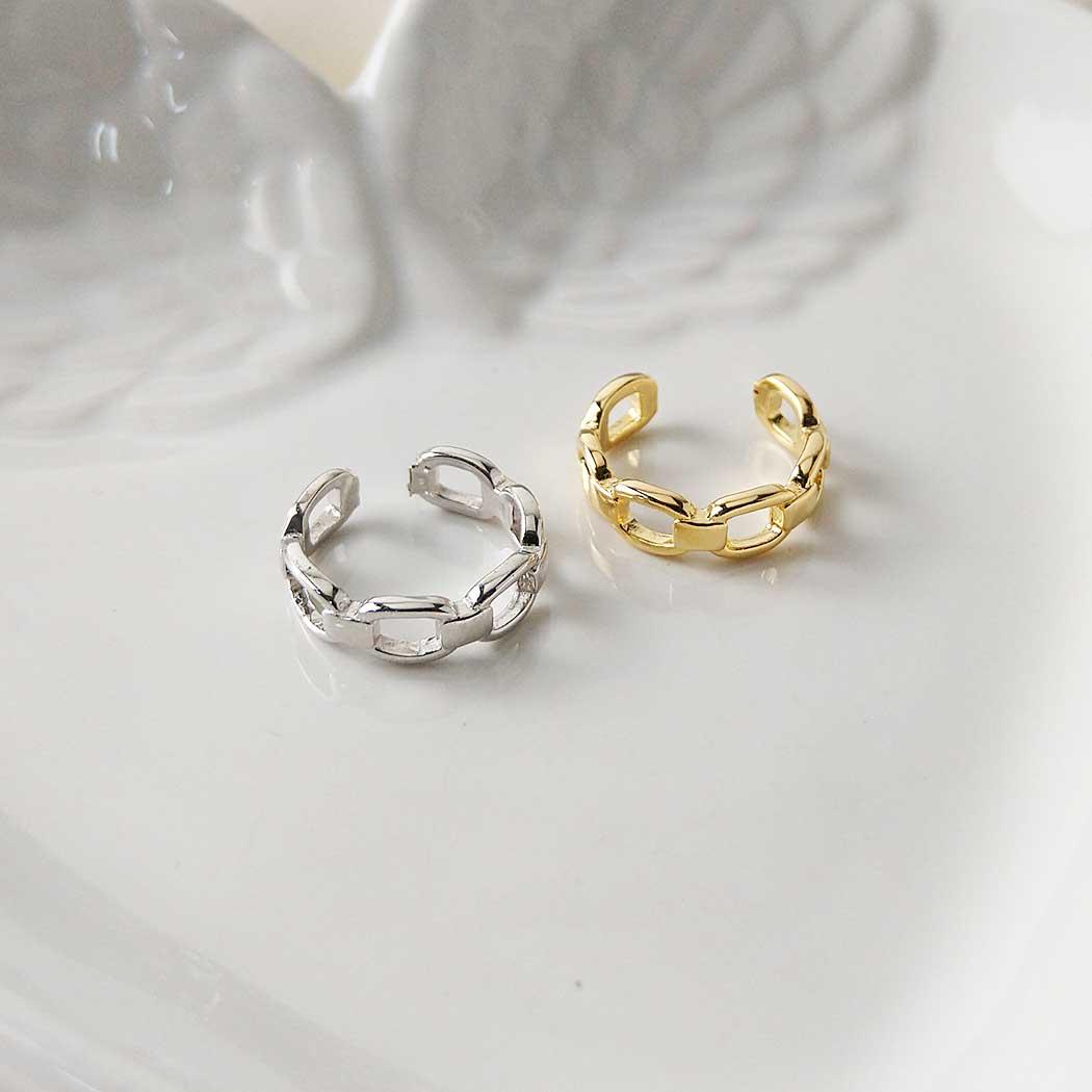 anel falange corrente elos regulável dourado