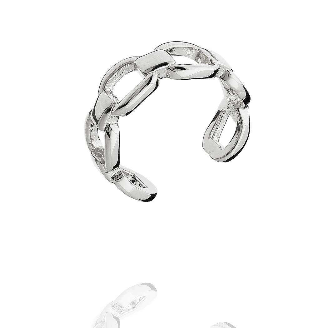 anel falange corrente elos regulável ródio claro