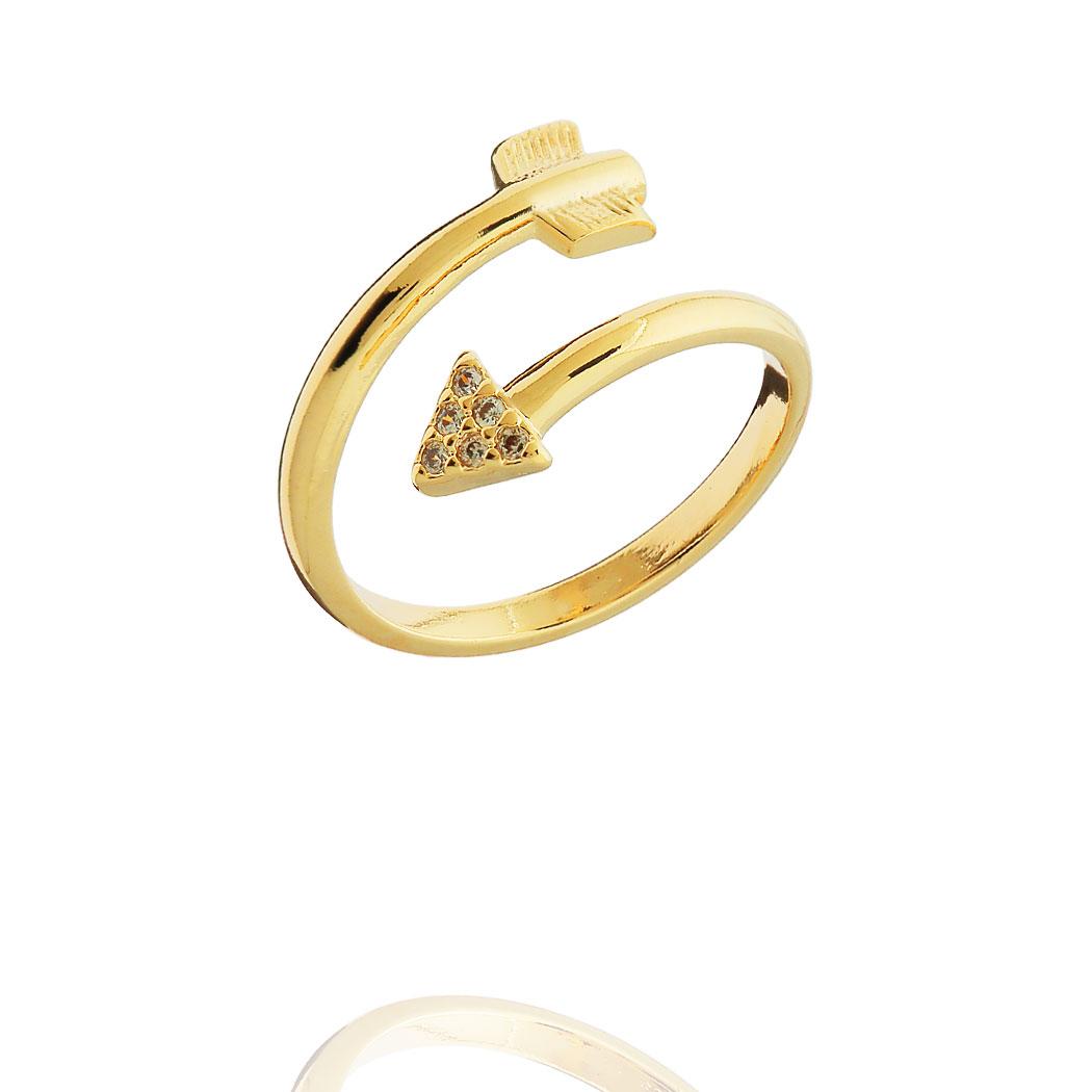 anel falange flecha regulável zirconias dourado