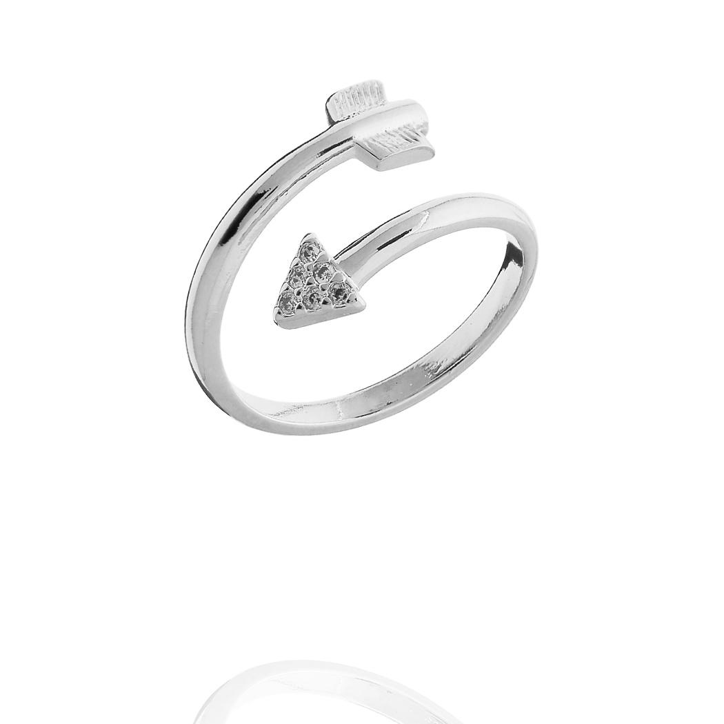 anel falange flecha regulável zirconias ródio claro