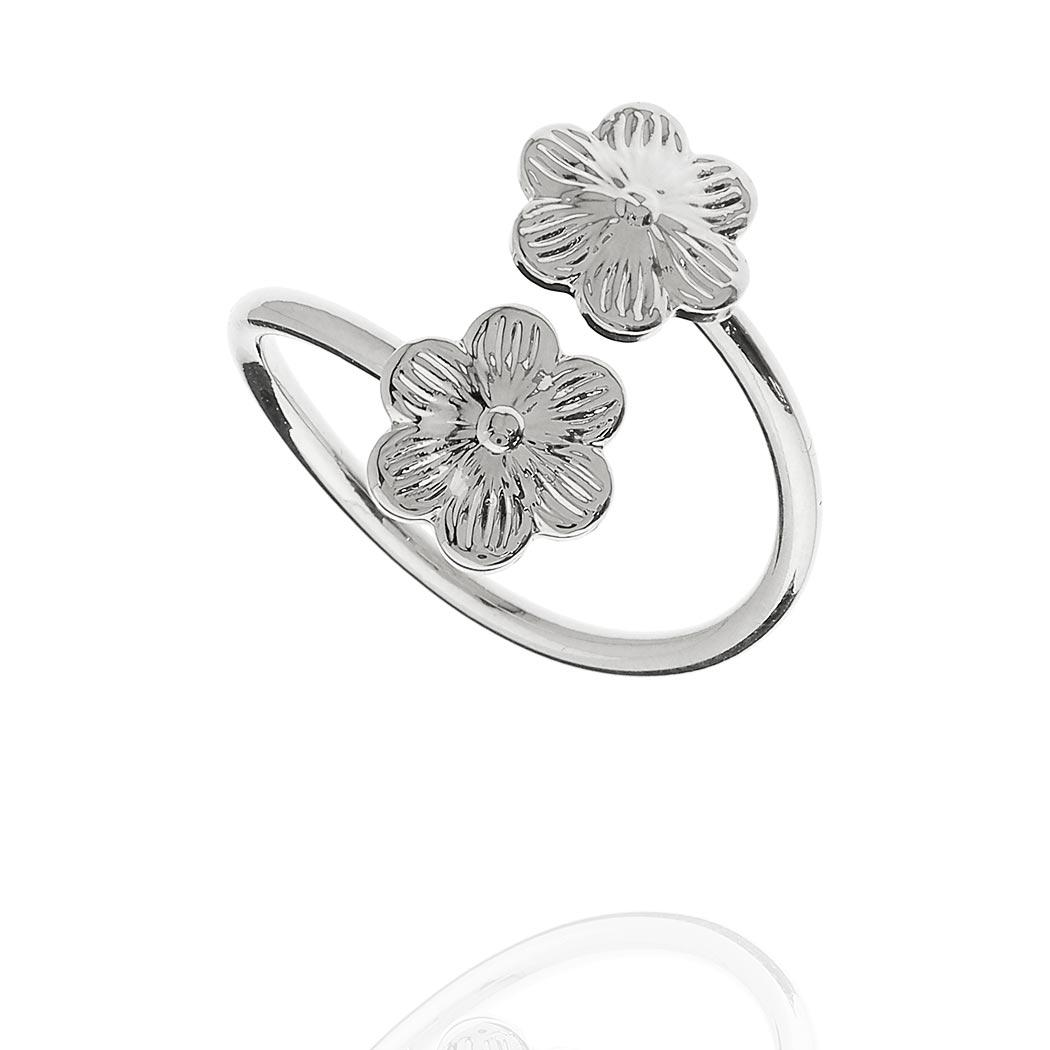 anel falange flores regulável ródio claro