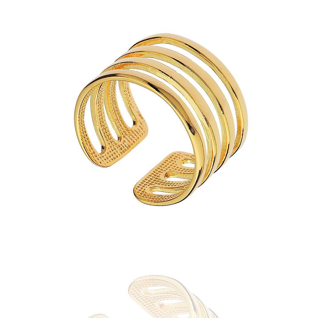 anel falange gladiador aros dourado