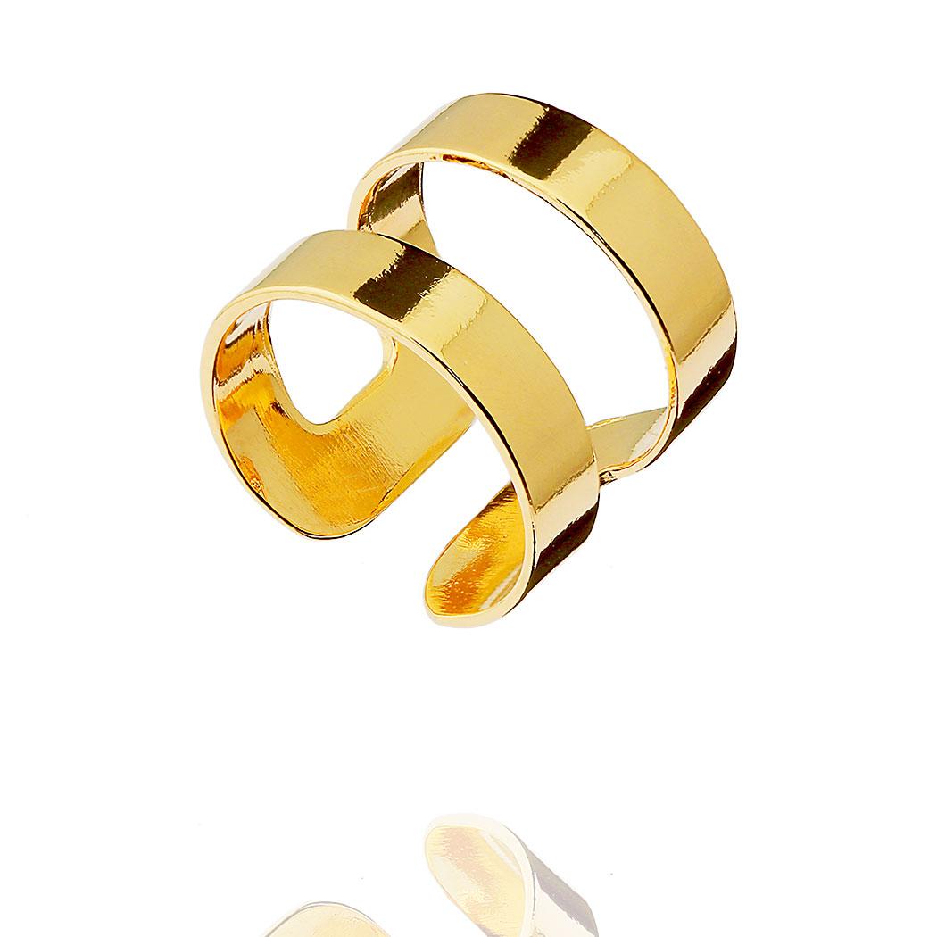 anel falange gladiador regulável liso dourado