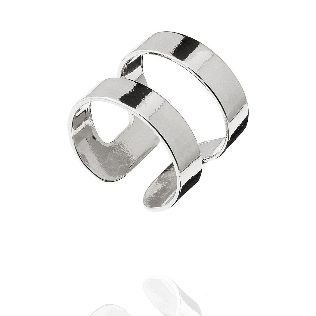 anel falange gladiador regulável liso ródio claro