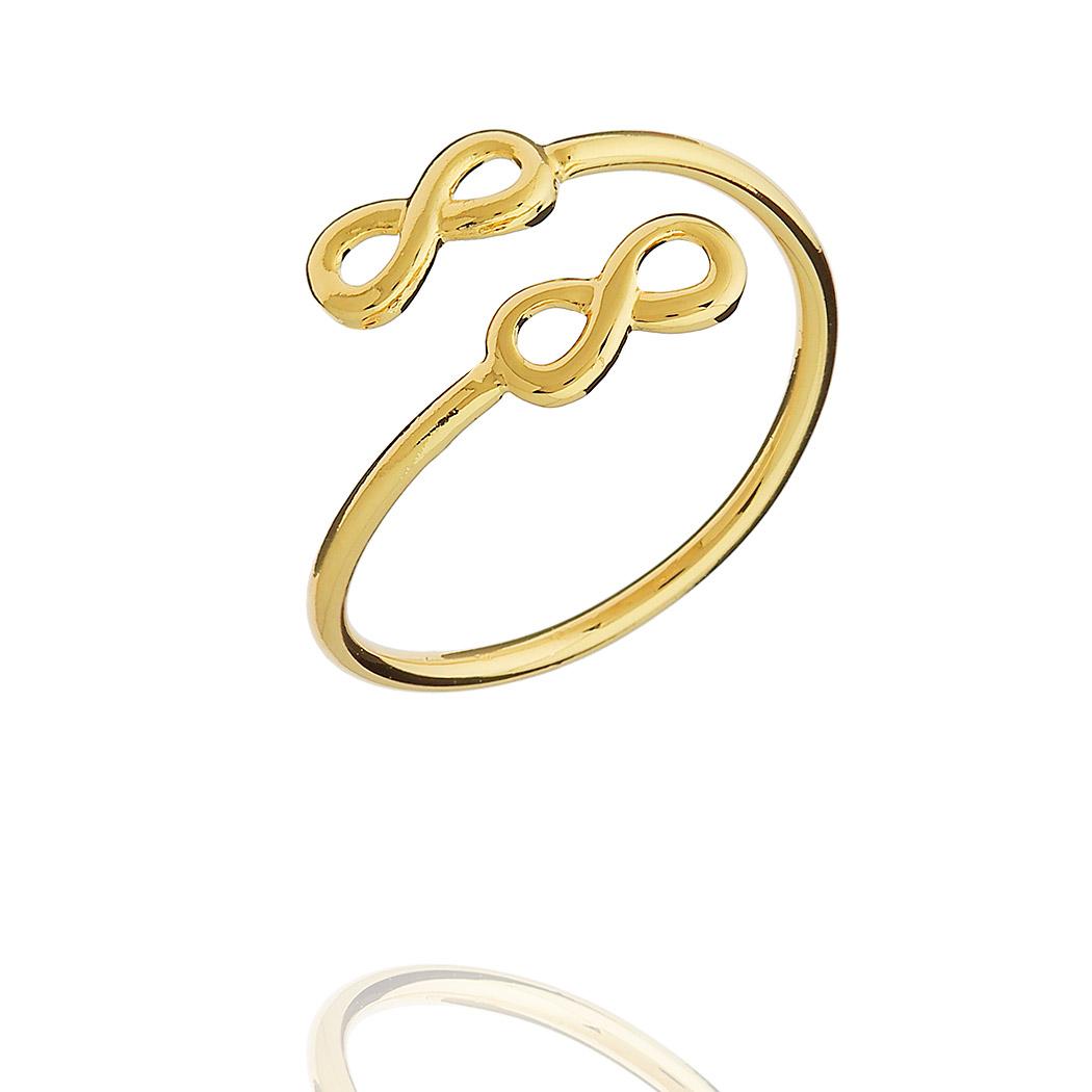 anel falange infinitos regulável dourado
