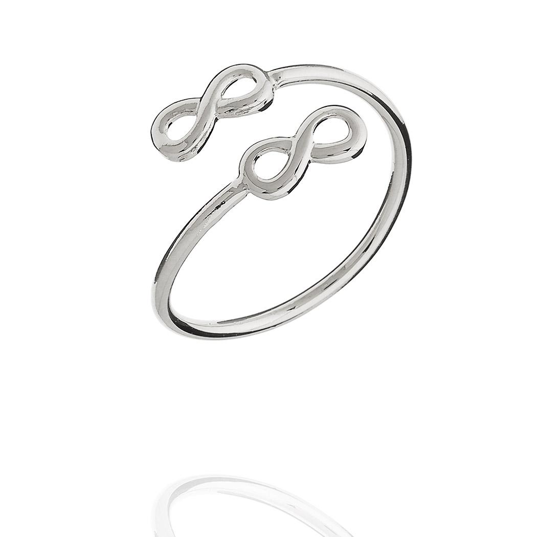 anel falange infinitos regulável ródio claro