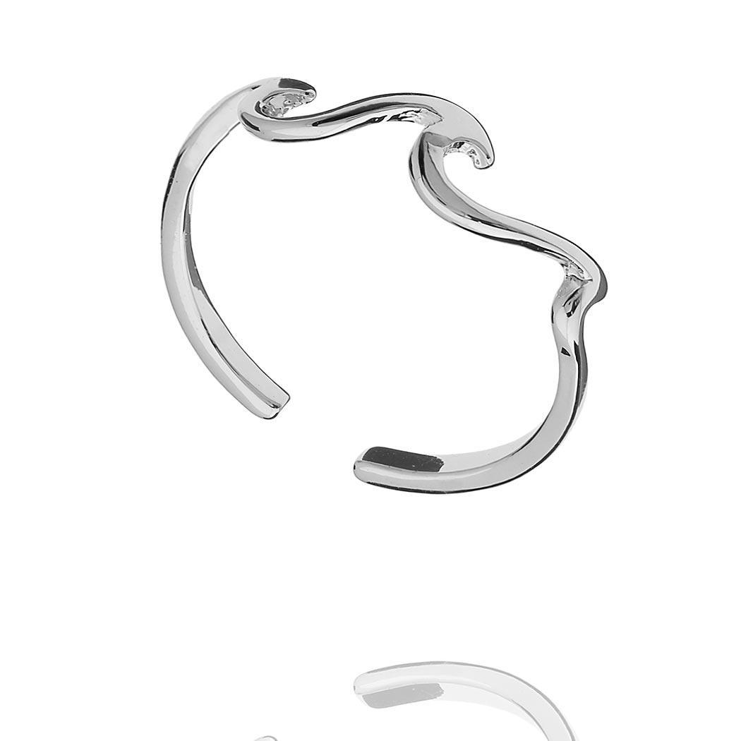 anel falange ondas mar regulável ródio claro