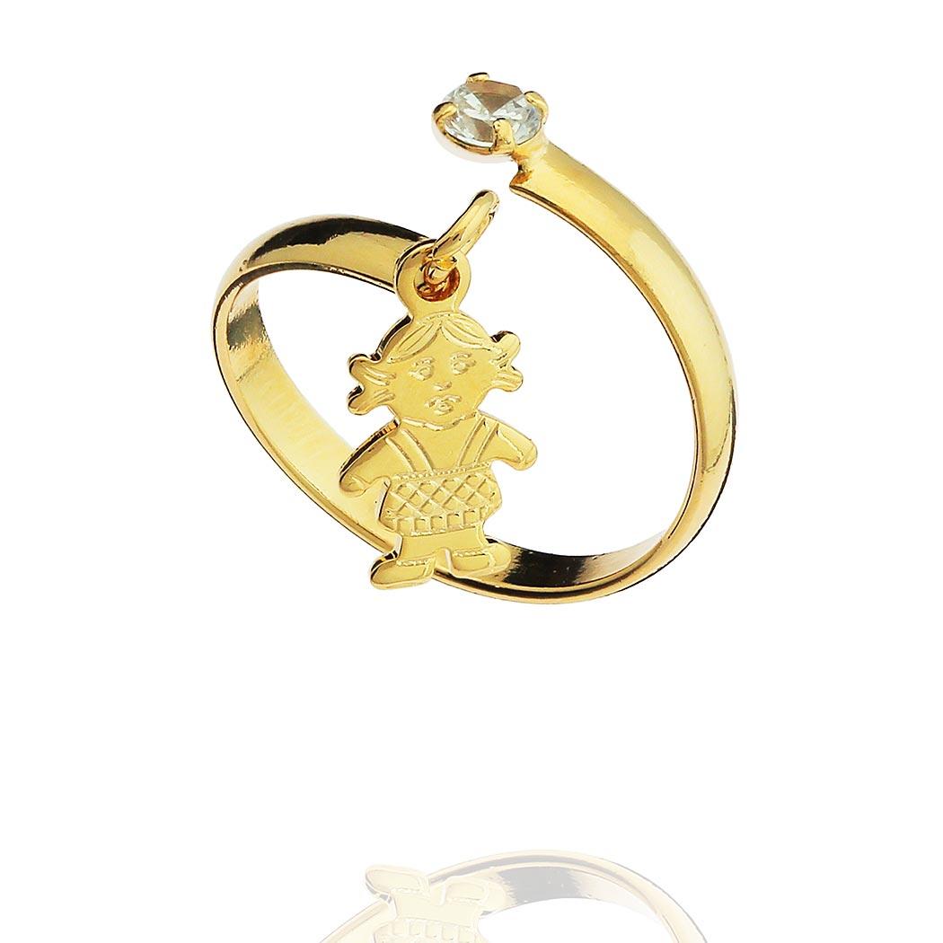 anel falange pingente menina regulável dourado
