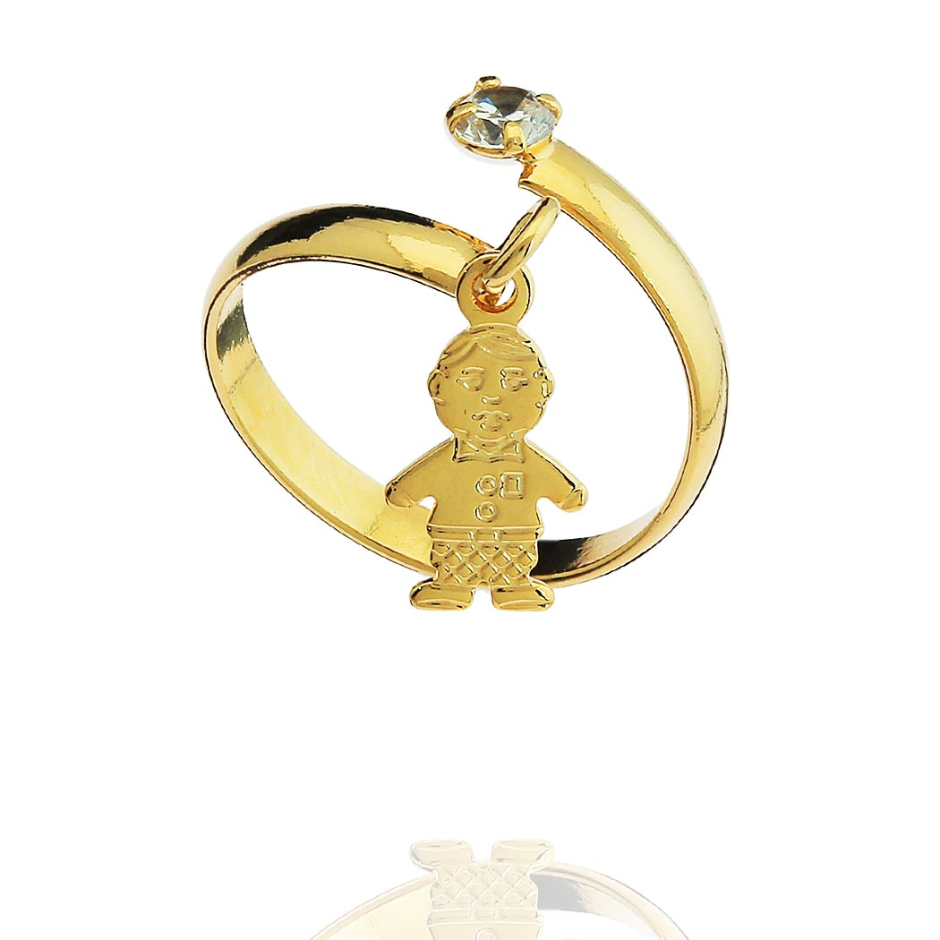 anel falange pingente menino regulável dourado