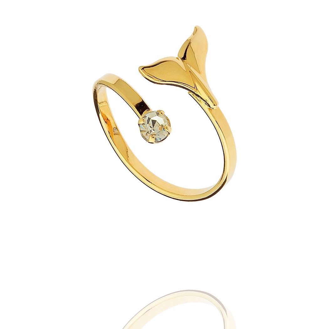 anel falange rabo baleia regulável dourado