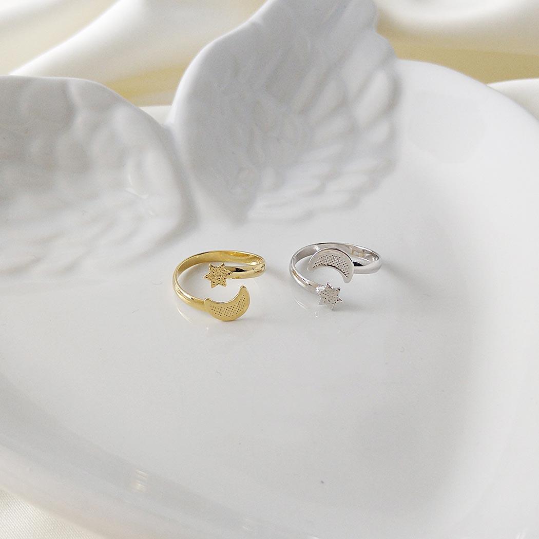 anel falange regulável Daiany Hank lua estrela dourado