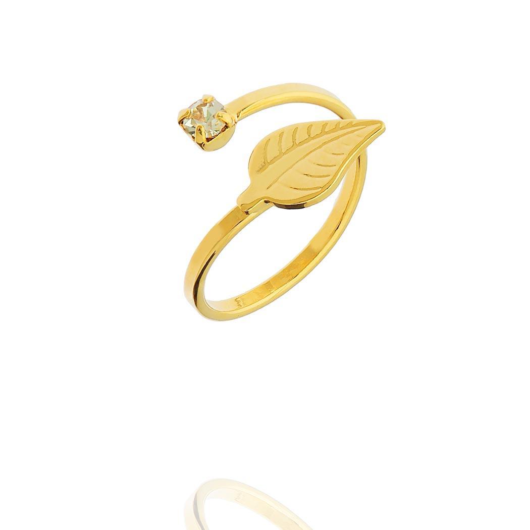 anel falange regulável folha dourado