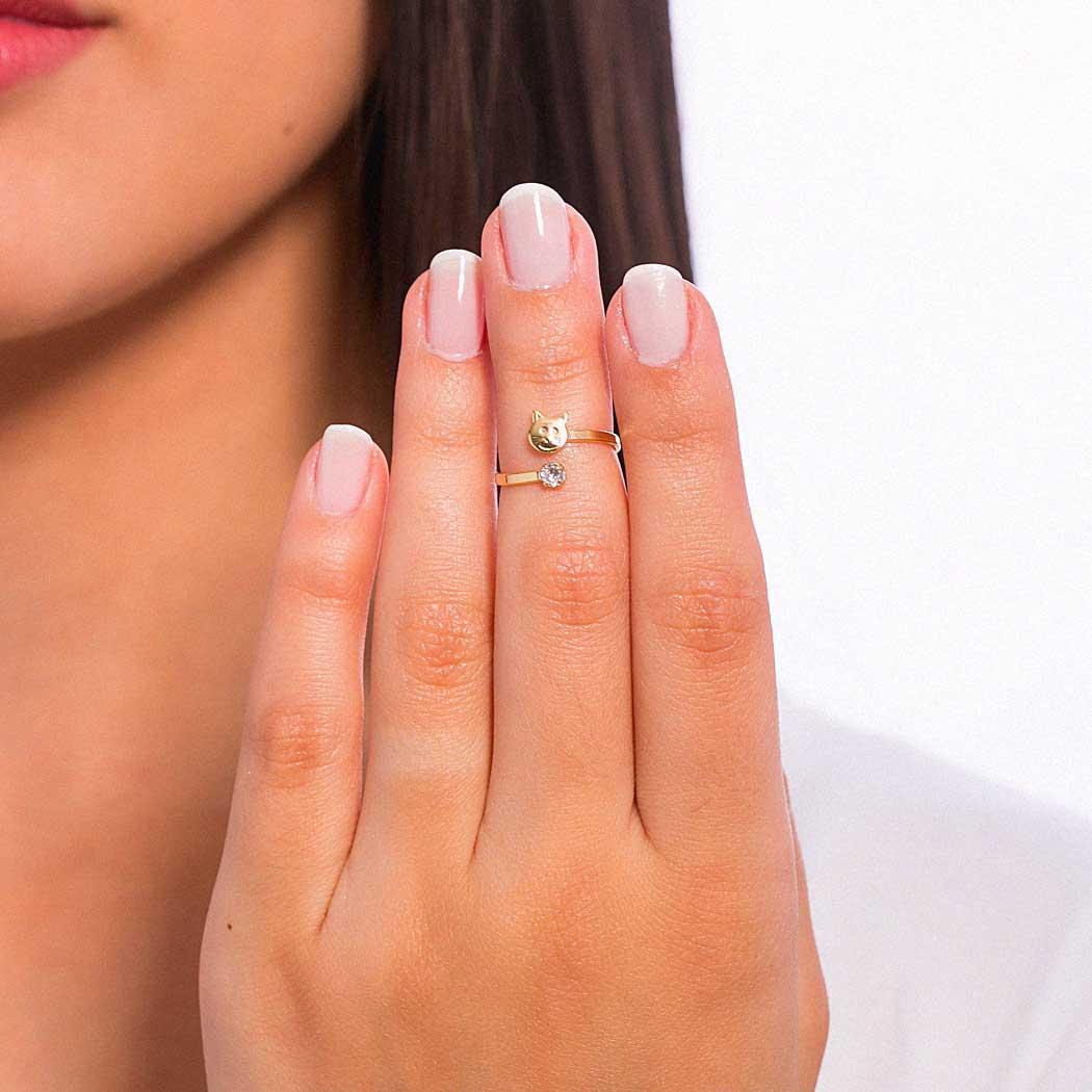 anel falange regulável gatinho dourado