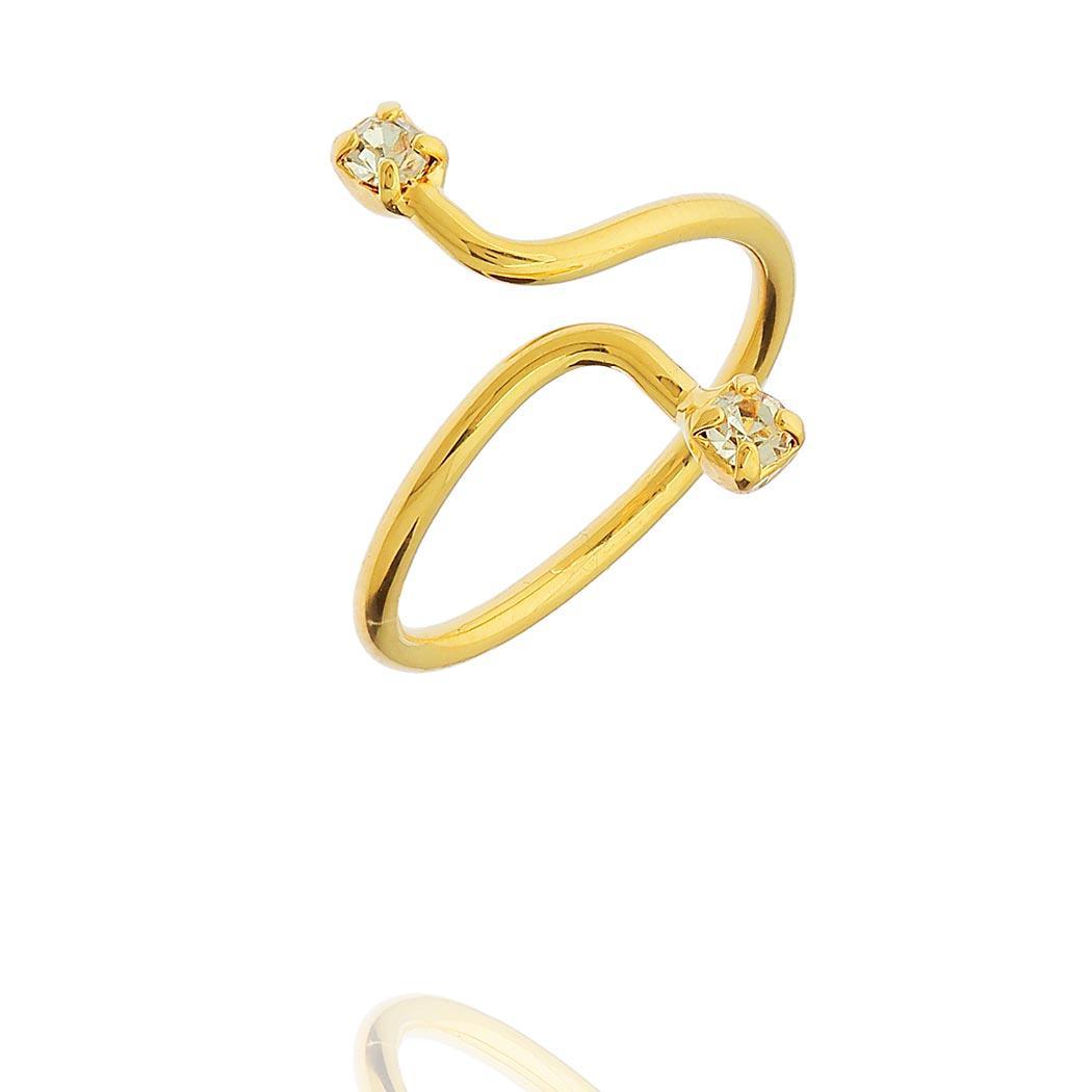 anel falange regulável zircônias dourado