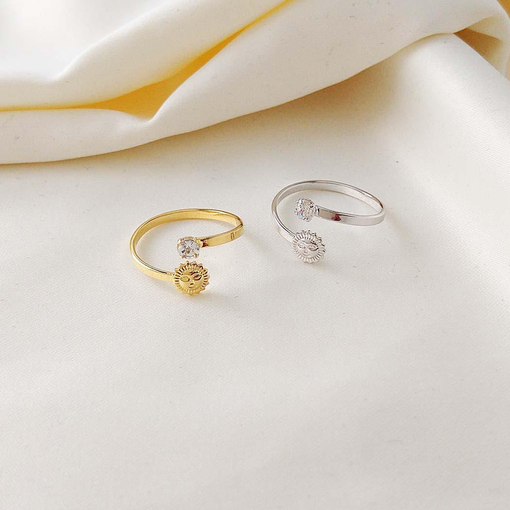 anel falange sol zircônia regulável dourado