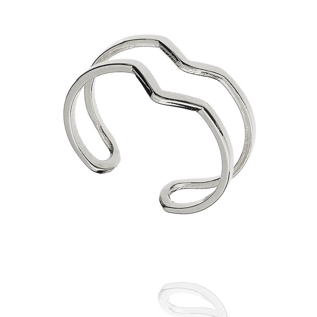 anel falange V regulável ródio claro