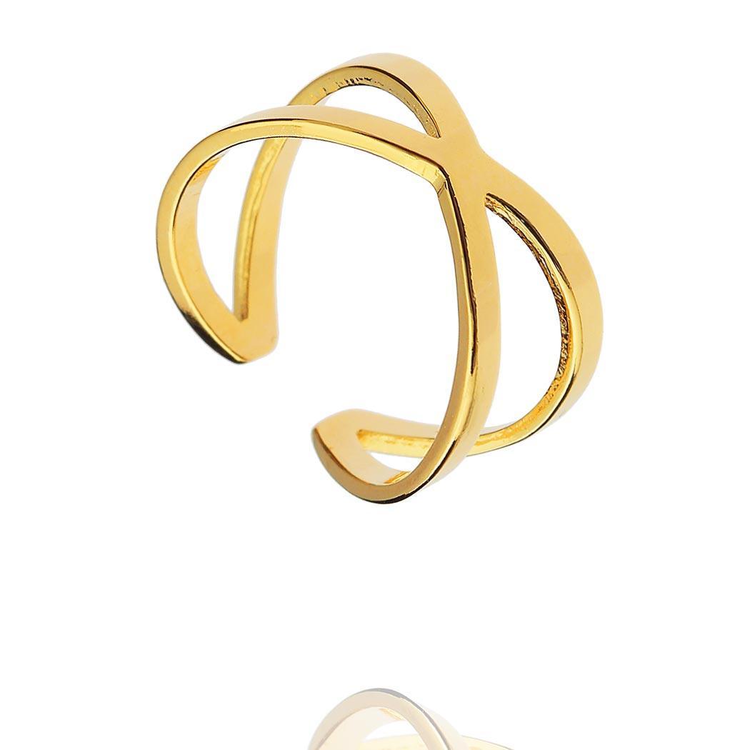 anel falange X regulável dourado