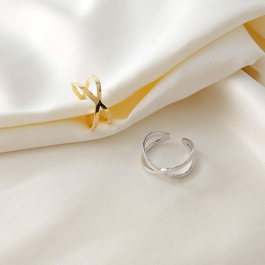 anel falange X regulável ródio claro