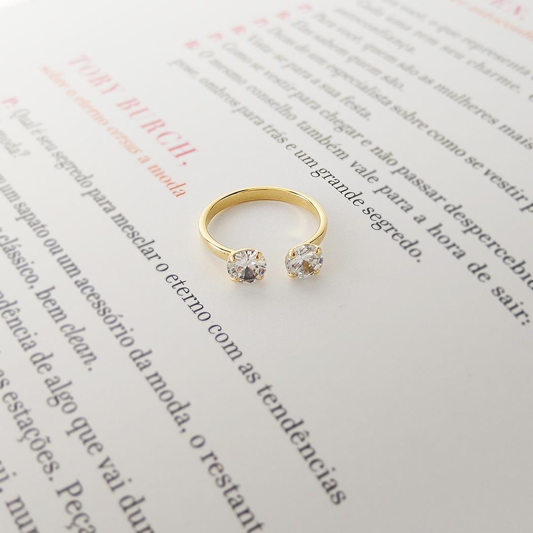 anel falange zircônias dourado