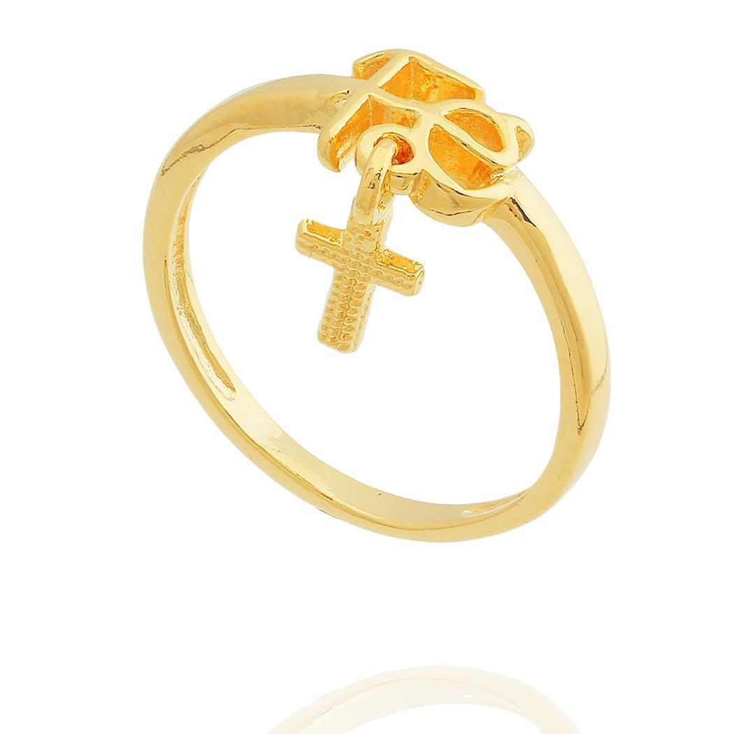 anel Fé pingente crucifixo dourado