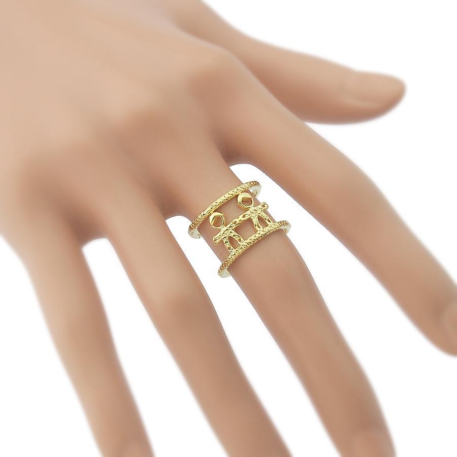 anel filhos dois meninos dourado