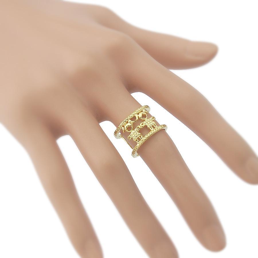 anel filhos duas meninas dourado