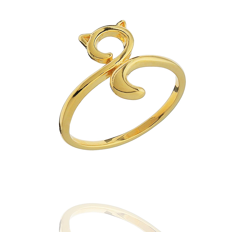 anel gatinho pet liso dourado