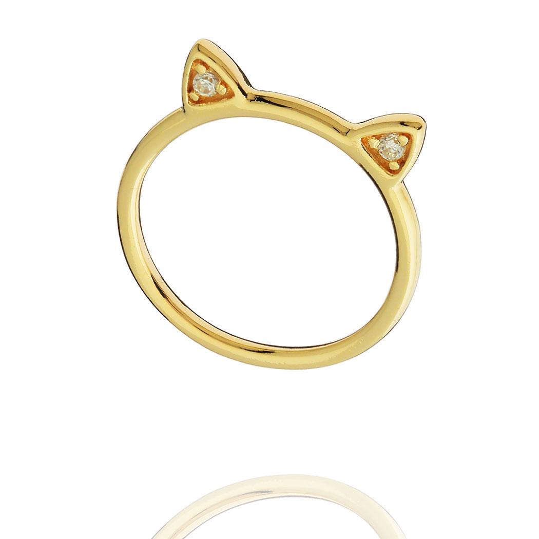 anel gatinho zircônias delicado dourado