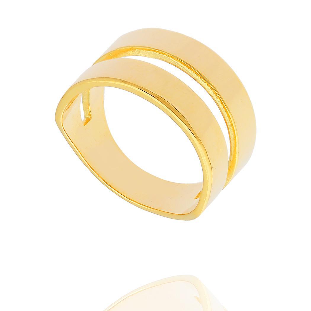 anel gladiador largo liso dourado