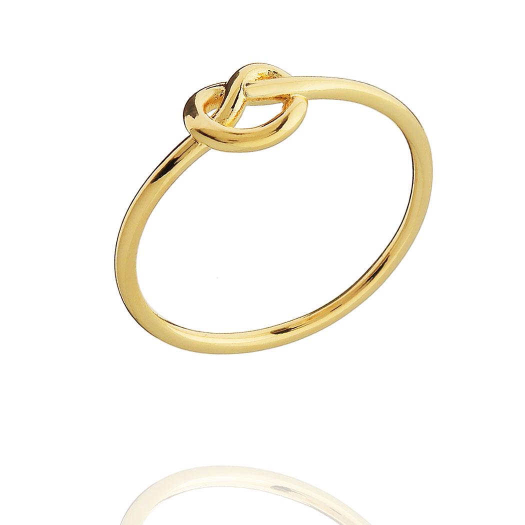 anel laço delicado dourado