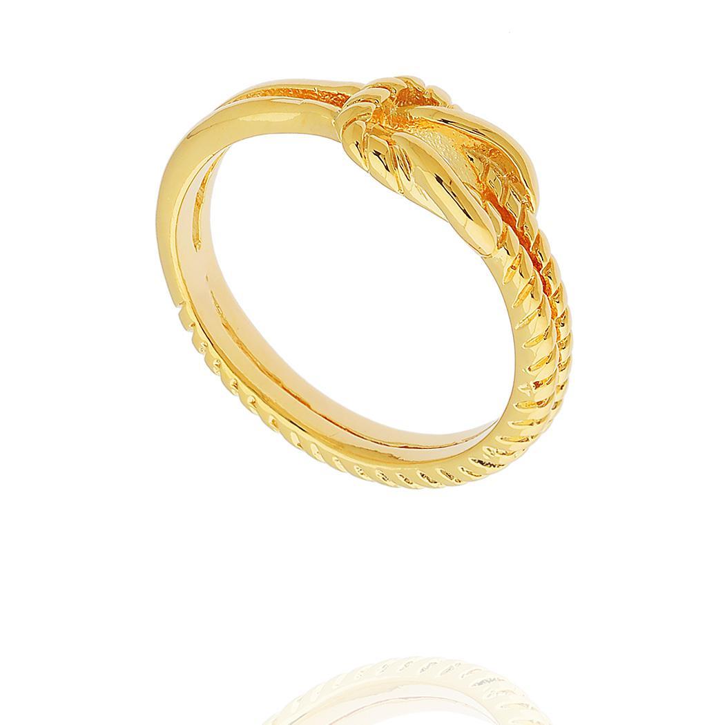 anel laço dois aros dourado