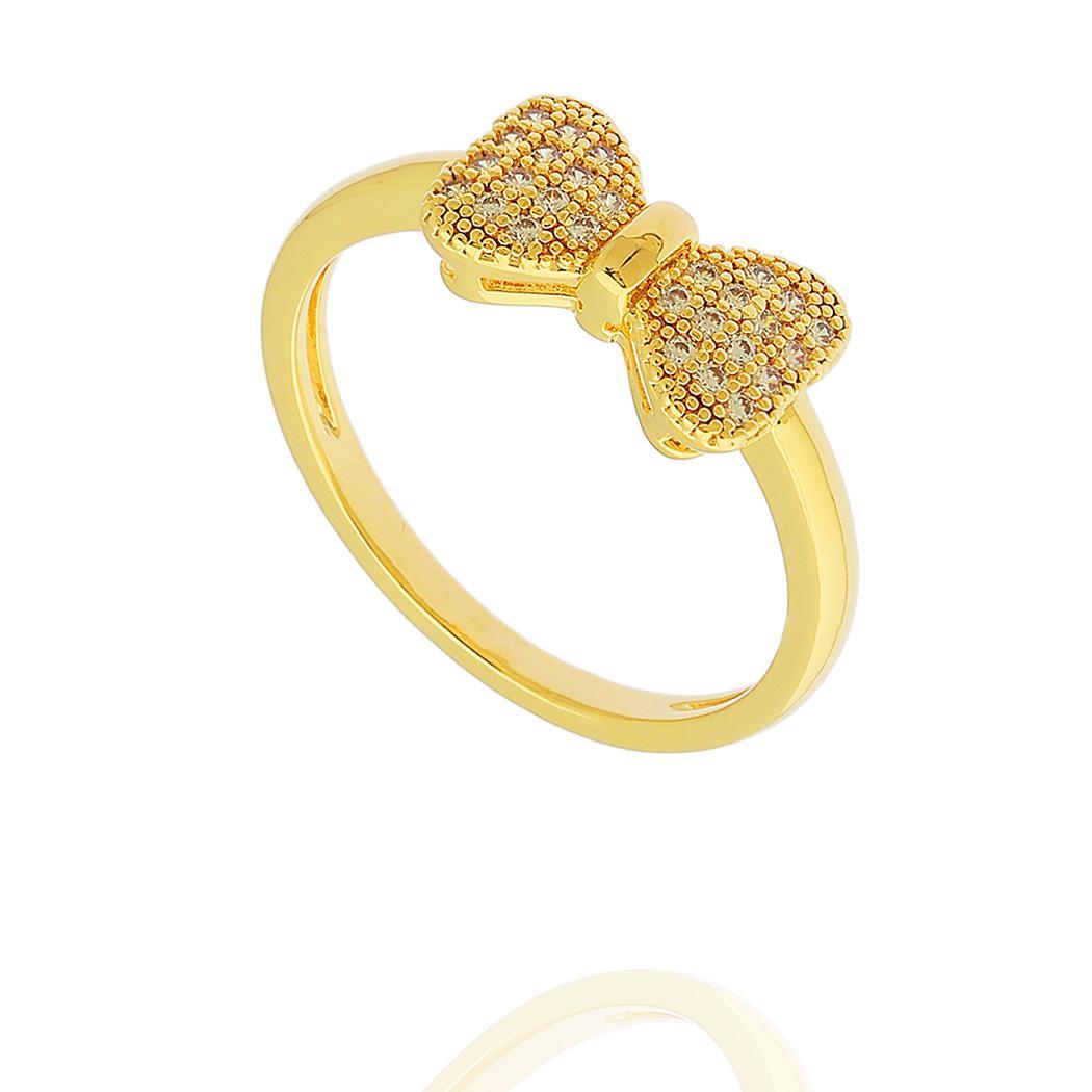 anel laço zircônias dourado