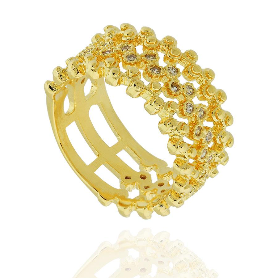 anel largo bolinhas zircônias dourado