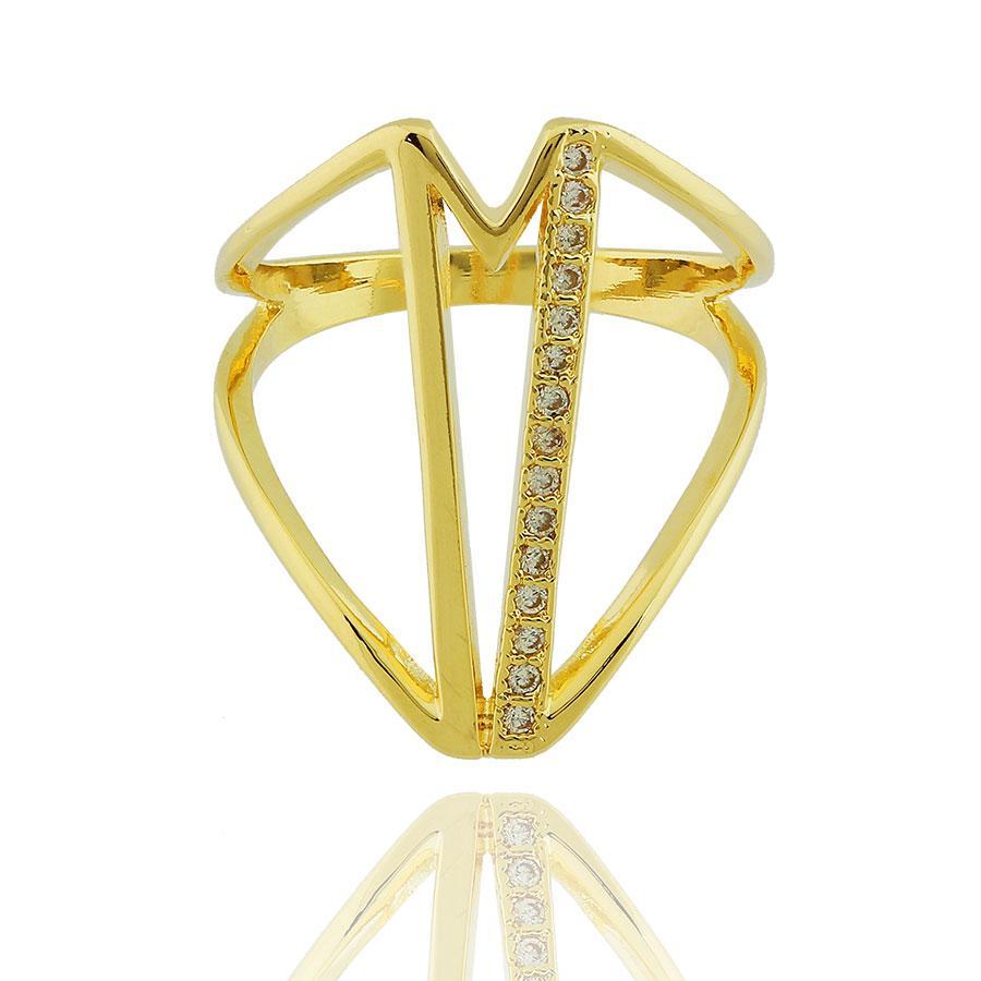 anel largo faixa zircônias dourado