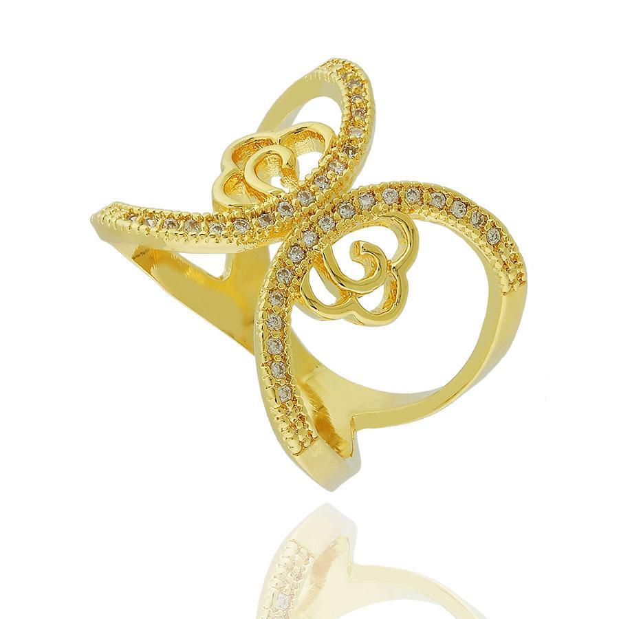 anel largo flor zircônias X dourado